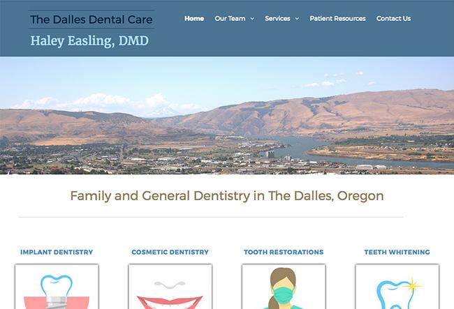 The Dalles Dental Care website